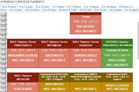 Flamenco timetable